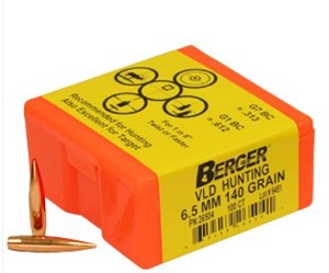 6.5mm 140 Grain BERGER Match VLD Hunting Bullets (100)
